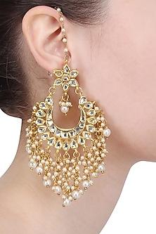 Gold Finish Kundan and Pearl Big Crescent Earrings by Soranam