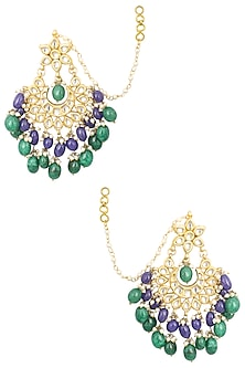 Gold Finish Kundan, Blue Stones and Pearl Big Crescent Earrings by Soranam