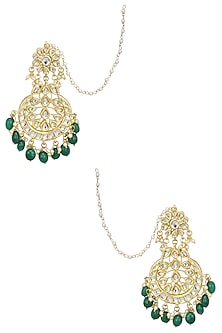Gold Finish Kundan, Emerald Stone and Pearl Crescent Earrings by Soranam