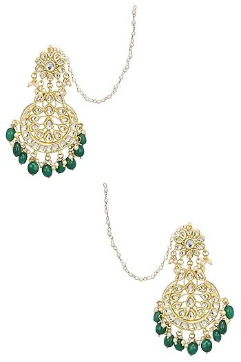 Gold Finish Kundan, Emerald Stone and Pearl Crescent Earrings by Soranam