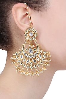 Gold Finish Pearl and Kundan Crescent Earrings by Soranam