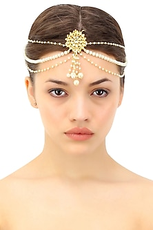 Gold plated triple layered pearl string matha patti with kundan stones and faux pearl drops by Soranam
