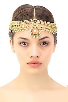 Gold plated pearl and kundan stone matha patti by Soranam