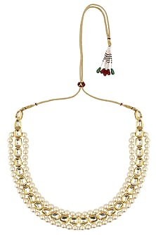 Gold plated kundan and pearl multi strings necklace by Soranam