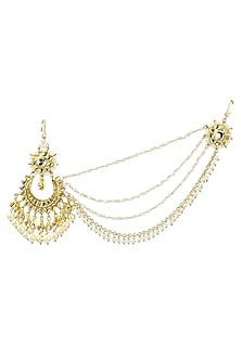 Gold plated kundan and pearl passa with one side pearl extended chains by Soranam