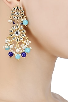 Gold Finish Kundan and Blue Stone Flower Earrings by Soranam