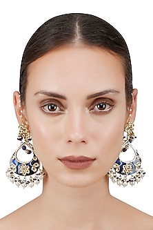 Gold Finish Kundan Blue Enamel Tear Drop Earrings by Soranam