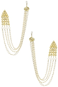 Gold Finish Kundan Stones Long Chain Earrings by Soranam