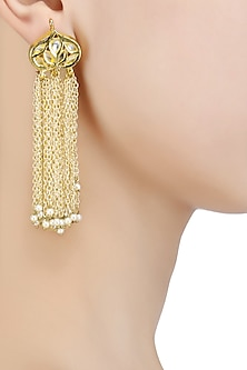 Gold Finish Tassel Earrings by Soranam