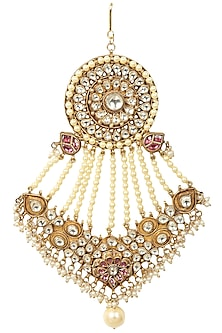 Gold Finish Kundan and Pearl Stone Passa by Soranam