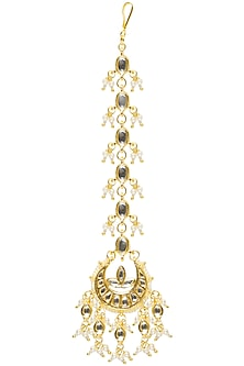 Gold Finish Kundan Stone Crescent Maang Tikka by Soranam