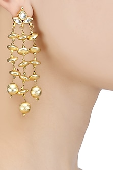 Matte Gold Finish Kundan Stone and Beads Earrings by Soranam