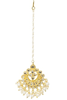 Gold Finish Kundan and Pearl Crescent Maang Tikka by Soranam