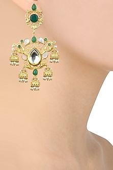 Gold Finish Kundan and Green Stone Small Jhumki Drop Earrings