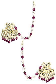 Gold Finish Pearl and Red Stone Earrings with Extended Chain by Soranam