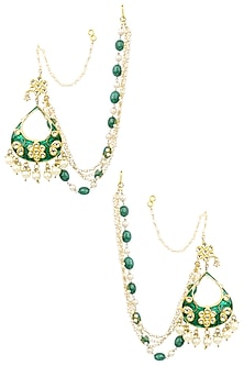 Gold Finish Green Enamel Drop Shape Earrings with Extended Chains by Soranam