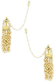 Gold Finish Kundan and Pearl Beads Tassel Earrings by Soranam