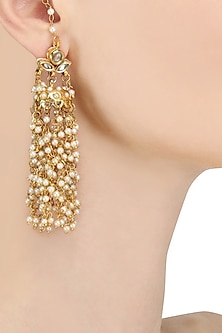 Gold Finish Kundan and Pearl Beads Tassel Earrings by Soranam