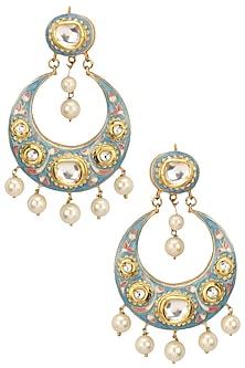 Gold Finish Blue Enamel Crescent Earrings by Soranam