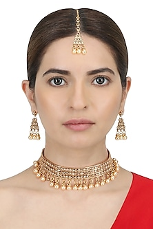 Micro Gold Plated Zircons Studded Necklace Set by Sona
