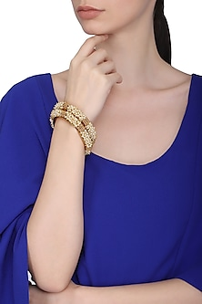 Set Of 2 Gold Plated Pearl Studded Bangles