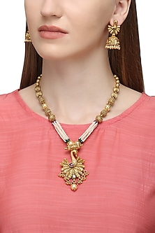 Gold Plated Peacock Motif Necklace Set by Sona