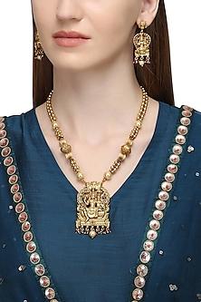 Gold Plated Shiv-Parvathi Motif Necklace Set <br />