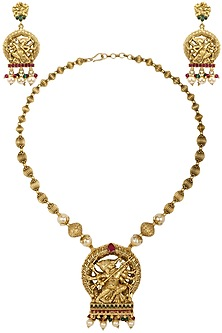 Gold Plated Durga Motif Necklace Set by Sona