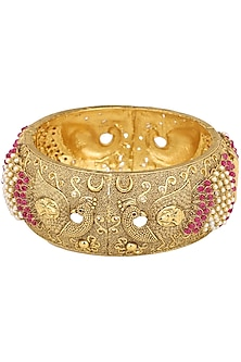 Set Of 2 Gold Plated Red Stones and Pearls Studded Bangles by Sona