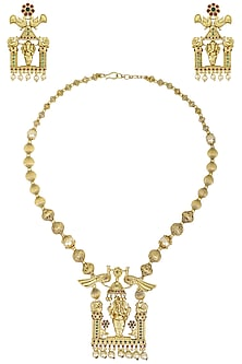 Gold Plated Ganesh Motif Necklace Set by Sona