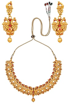 Matt Gold Plated Red Stones Peacock Motifs Necklace Set by Sona