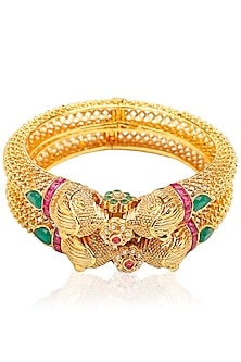 Set Of 2 Matt Gold Plated Lion Face Motif Bangles by Sona