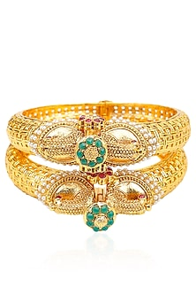 Set Of 2 Matt Gold Plated Bird Bangles by Sona