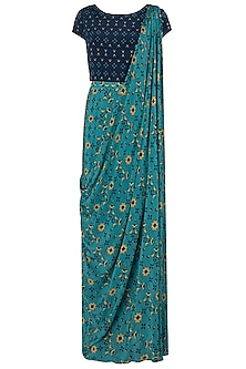Blue and Yellow Printed Draped Saree Set