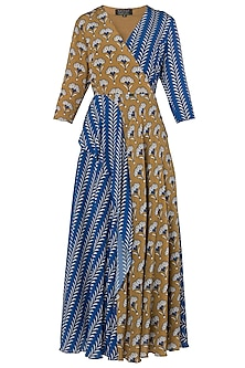 Blue and Mustard Printed Maxi Dress