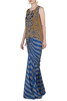Blue and Mustard Floral Printed Saree Dress by Soup by Sougat Paul