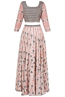 Pink and Navy Blue Printed Lehenga Set