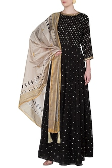 Yellow and Black Embroidered Long Tunic with Printed Dupatta by Soup by Sougat Paul