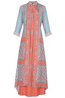 Blue and Orange Printed Tunic with A Contrast Overlay
