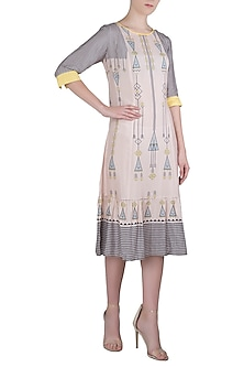 Pink and Blue Printed Knee Length Dress by Soup by Sougat Paul