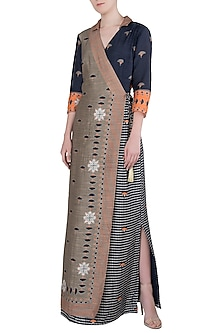 Beige and Black Printed Wrap Slit Dress by Soup by Sougat Paul