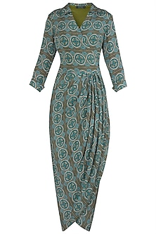 Green Printed Wrap Dress