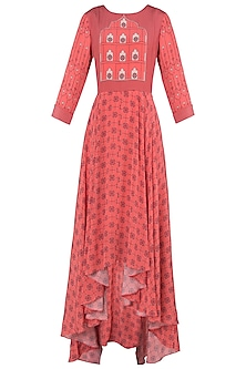Peach Asymmetrical Printed Maxi Dress