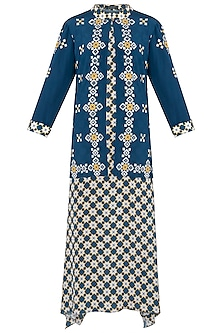 Blue Printed Maxi Dress with Embroidered Jacket by Soup by Sougat Paul