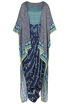 Blue Printed Drape Maxi Dress with Asymmetrical Cape