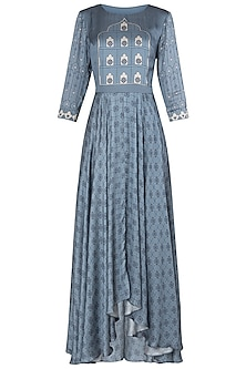 Blue Asymmetrical Printed Maxi Dress