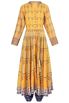 Yellow and Blue Printed Anarkali with Pants