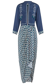 Blue Jacket with Drape Maxi Dress