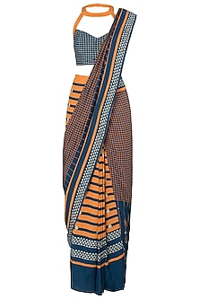 Blue and Yellow Geometric Printed Saree with Blouse