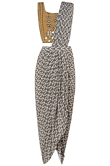 Mustard and Grey Printed Saree with Blouse by Soup by Sougat Paul